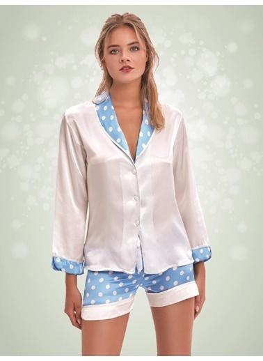 Nbb Saten Şortlu Pijama Takım 3357 Beyaz